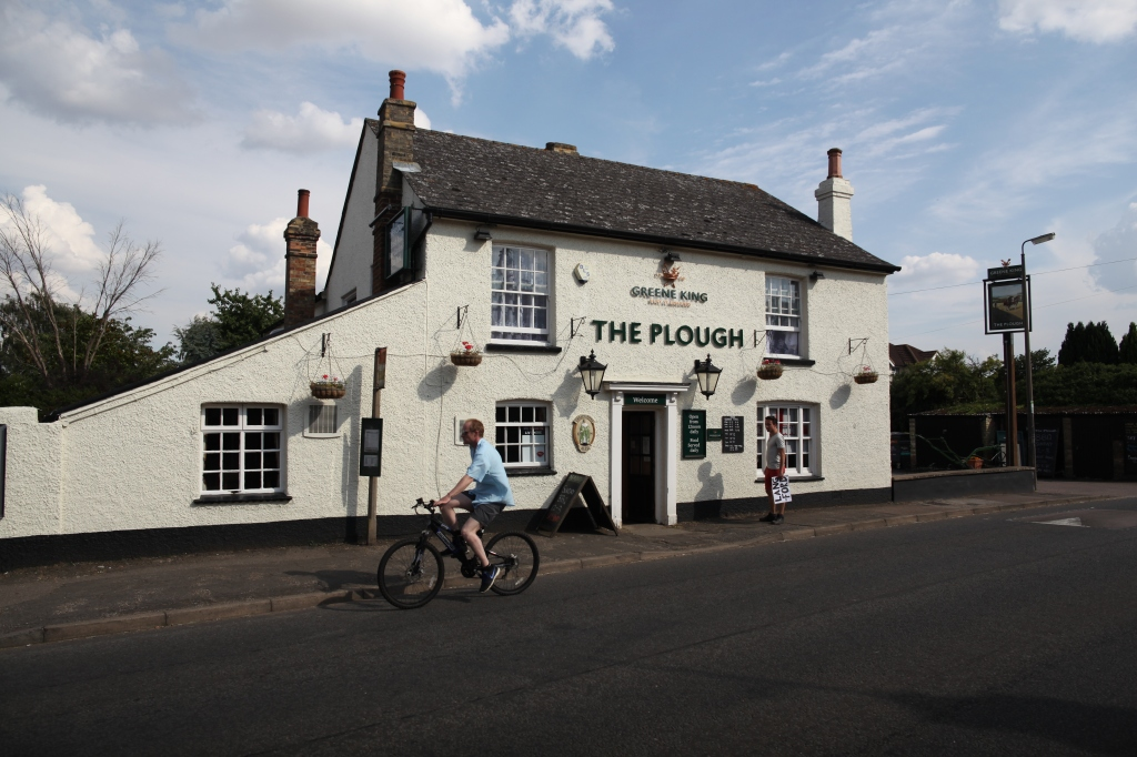 The Plough, Langford, with added man on bike